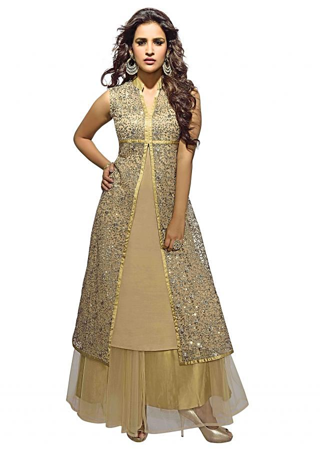 Beige kurti with embroidered jacket only on Kalki