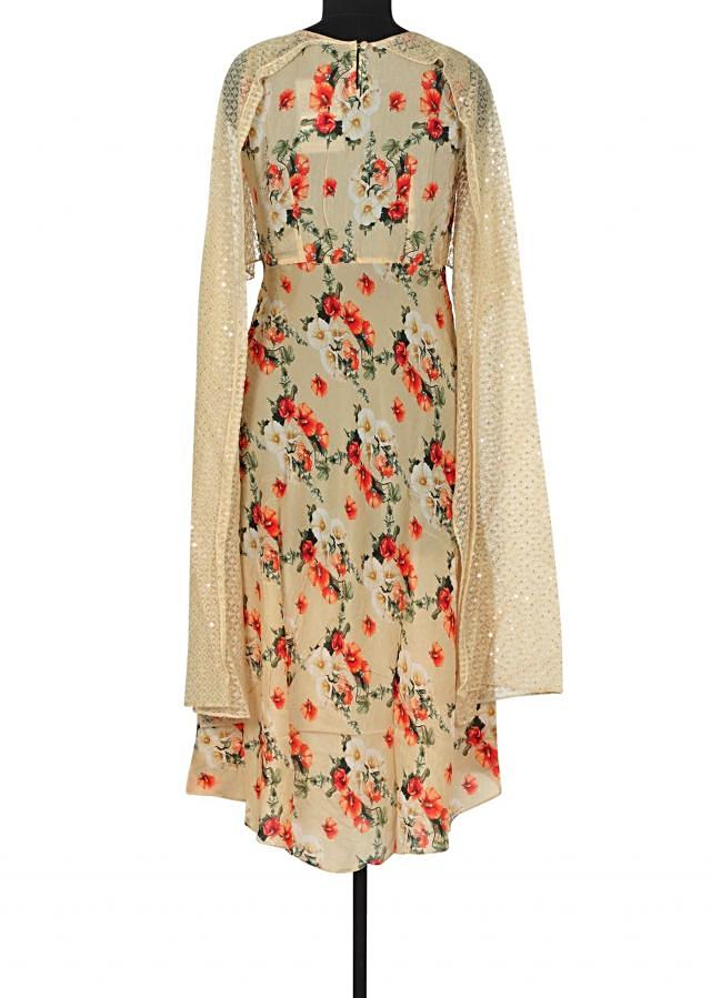Beige kurti with top layer in thread and sequin only on Kalki