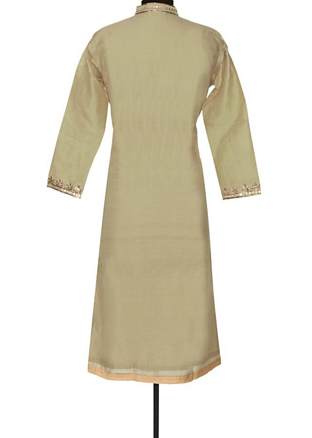 Beige kurti with zari and mirror placket only on Kalki