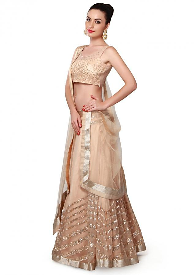 Beige lehenga adorn in sequin embroidery only on Kalki