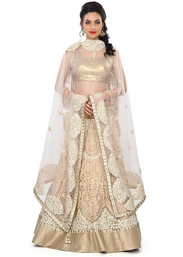 Beige lehenga adorn in thread and sequin embroidery only on Kalki