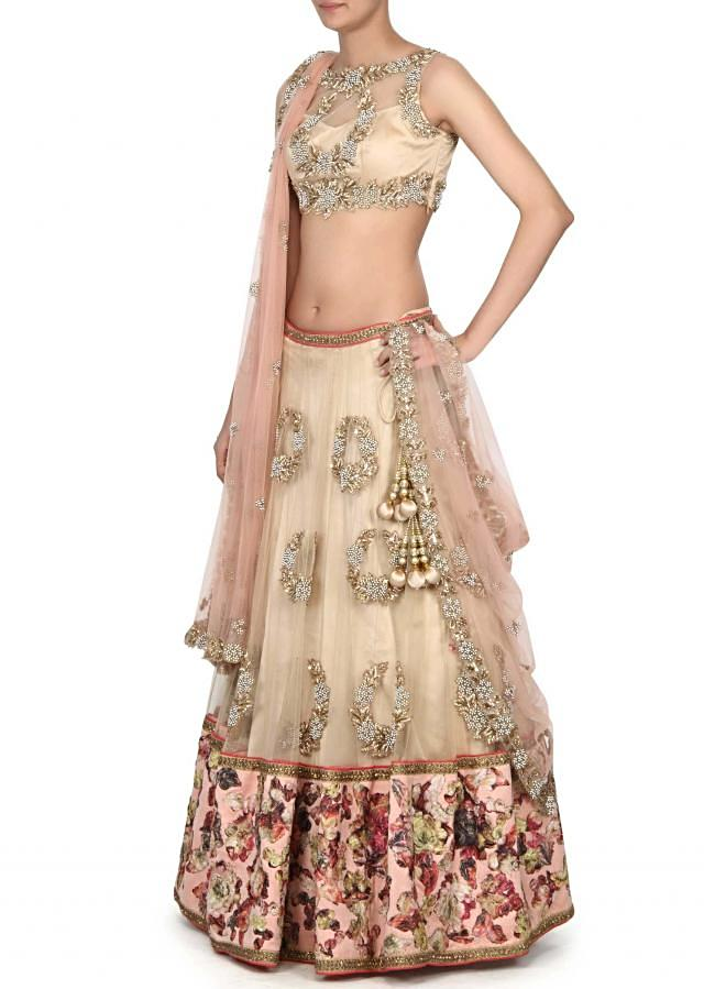 Beige lehenga enhanced in moti and floral print only on Kalki