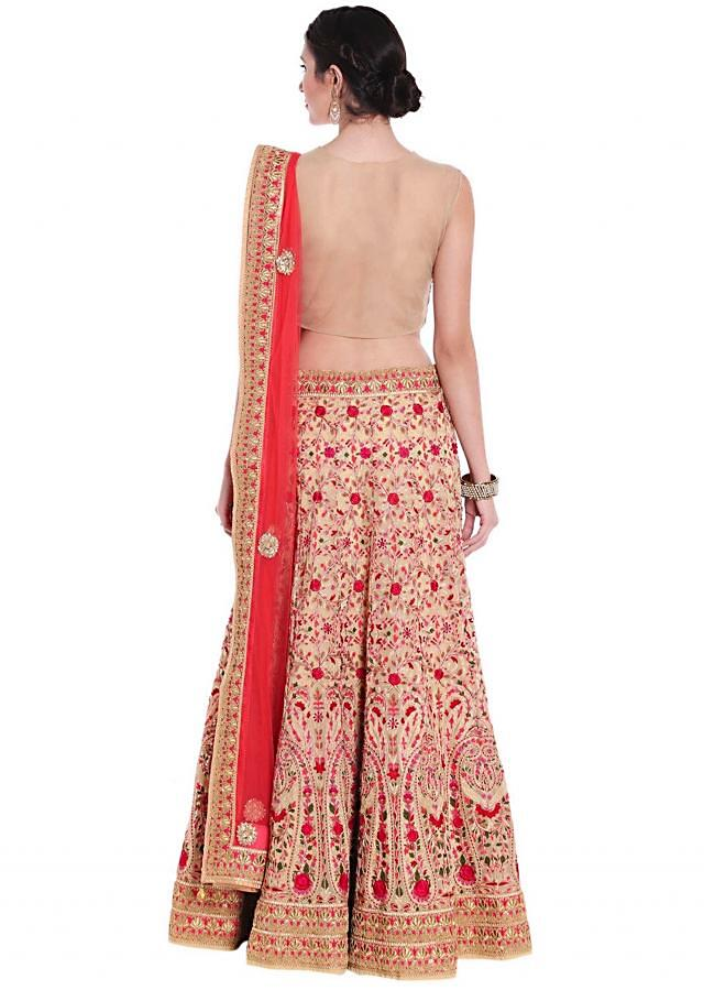 Beige lehenga in georgette adorn in resham and aari work only on Kalki