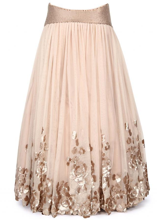 Beige lehenga in sequin embroidery in floral motif only on Kalki