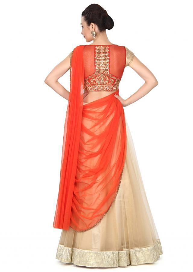 Dusky beige lehenga saree in with pre stitched pallav only on Kalki