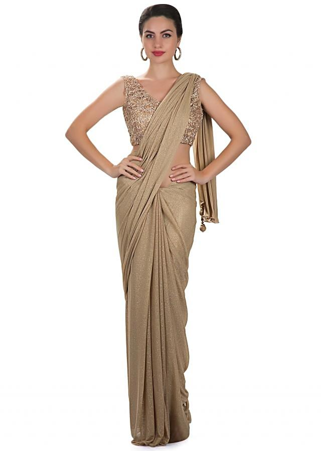 Beige lycra net saree with embroidered fancy blouse only on Kalki