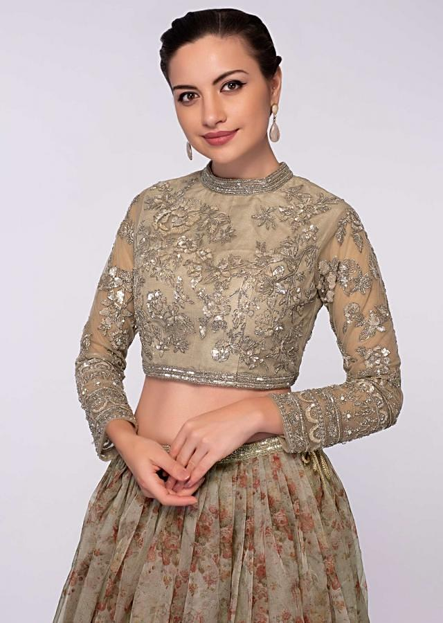 Beige Lehenga And Dupatta In Floral Printed Organza Paired With Embroidered Net Blouse Online - Kalki Fashion