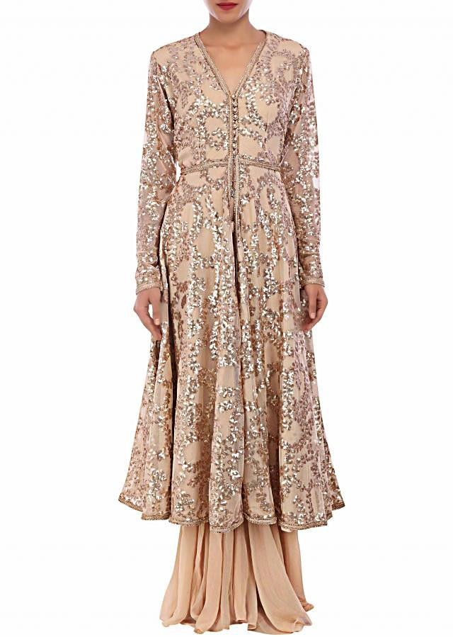 Beige outfit adorn in sequin embroidery only on Kalki