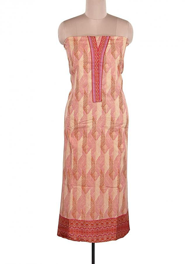 Beige Printed Unstitched Suit Adorn In Resham Embroidery Only On Kalki