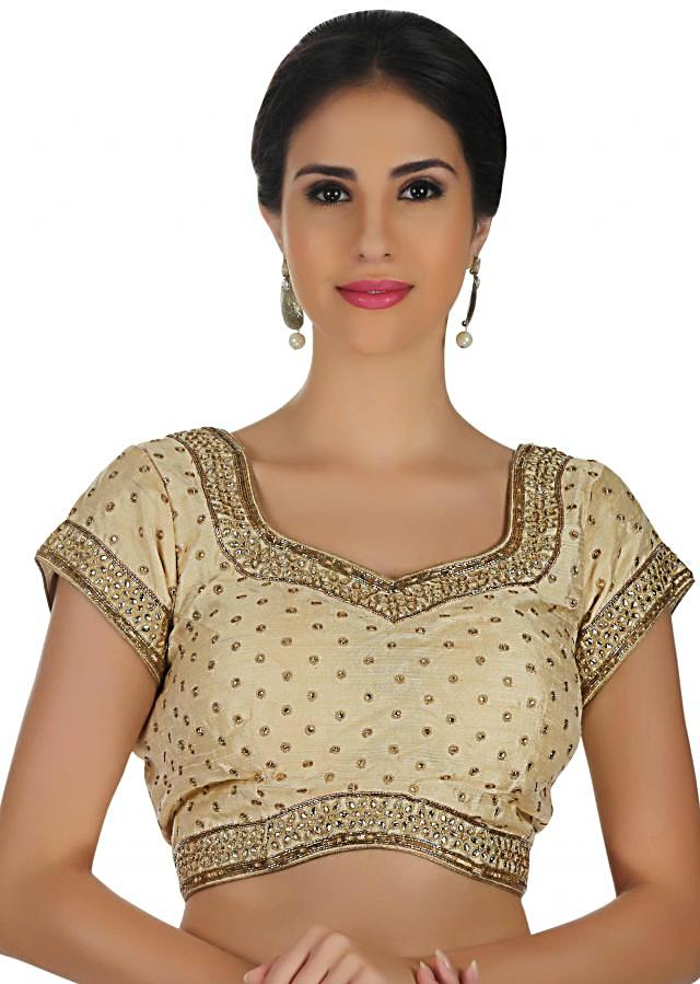 Beige raw silk blouse in thread and kundan work only on Kalki