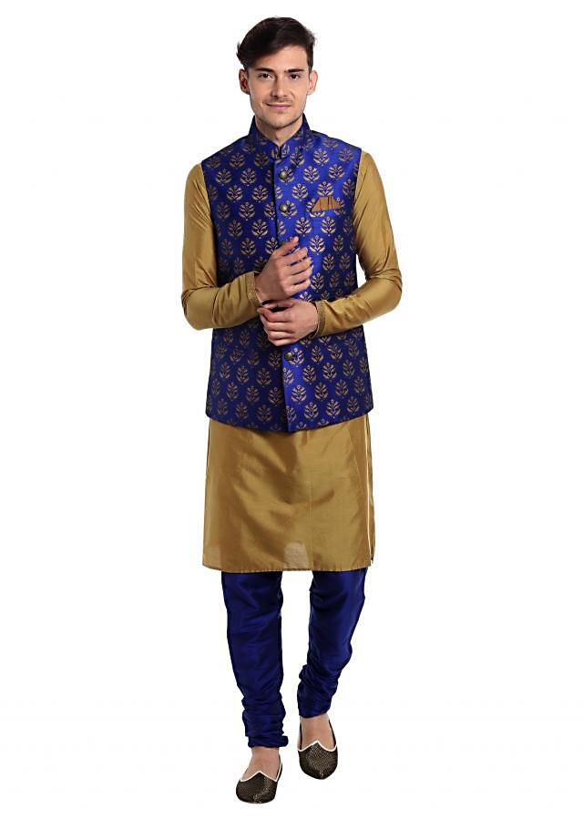 Beige Raw Silk kurta and Pyjama Coupled with Printed Royal Blue Cotton Waistcoat only at Kalki