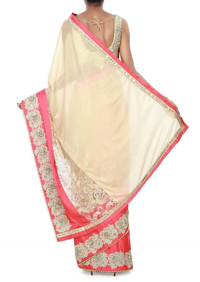 Buff beige saree adorn in sequin and cut work border only on Kalki