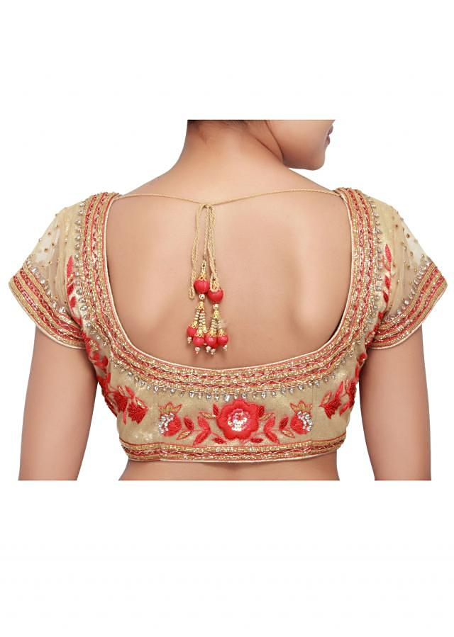 Butterscotch beige saree embellished in embossed thread work only on Kalki