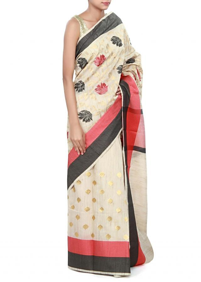 Beige saree featuring in resham with red and black border only on Kalki