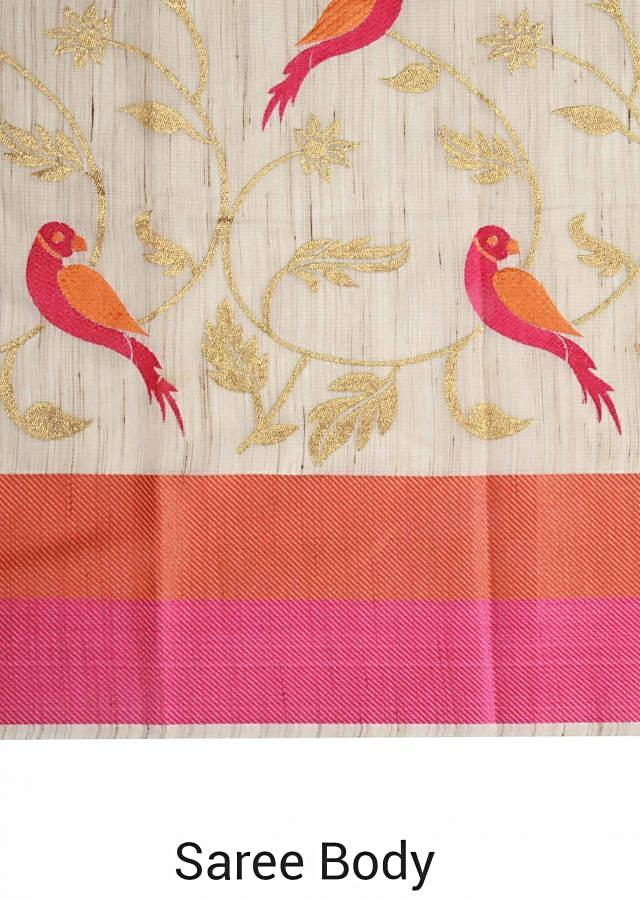 Beige saree featuring with pink and orange border only on Kalki