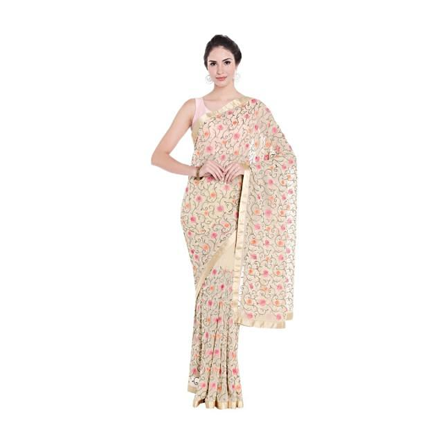 Beige saree in georgette with resham jaal motif embroidery only on Kalki