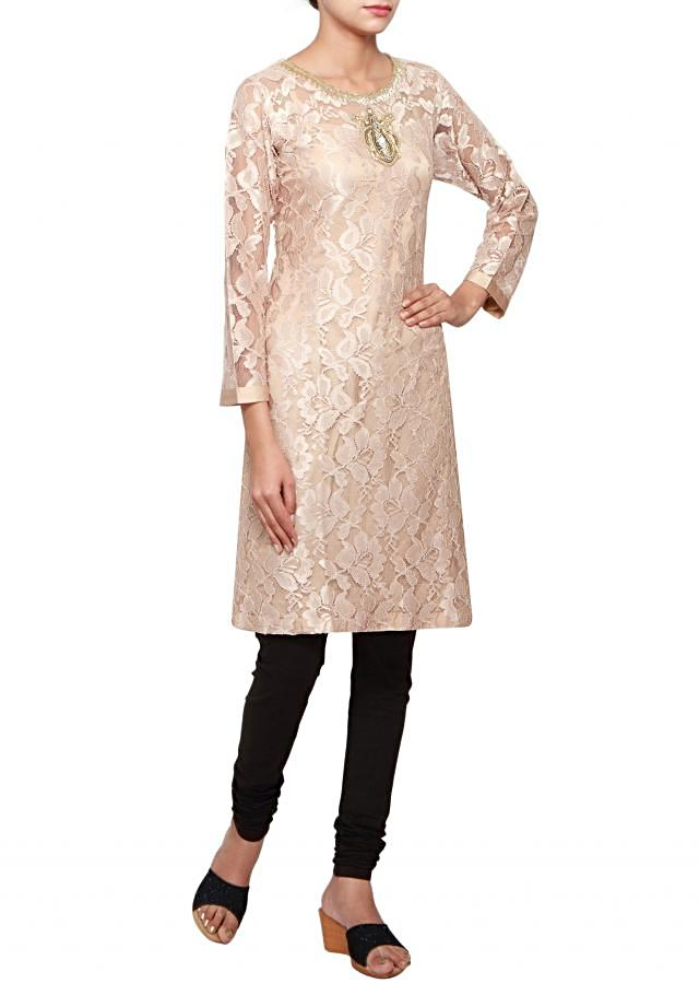 Beige satin and lace straight fit kurti embellished in stone and patch work only on Kalki