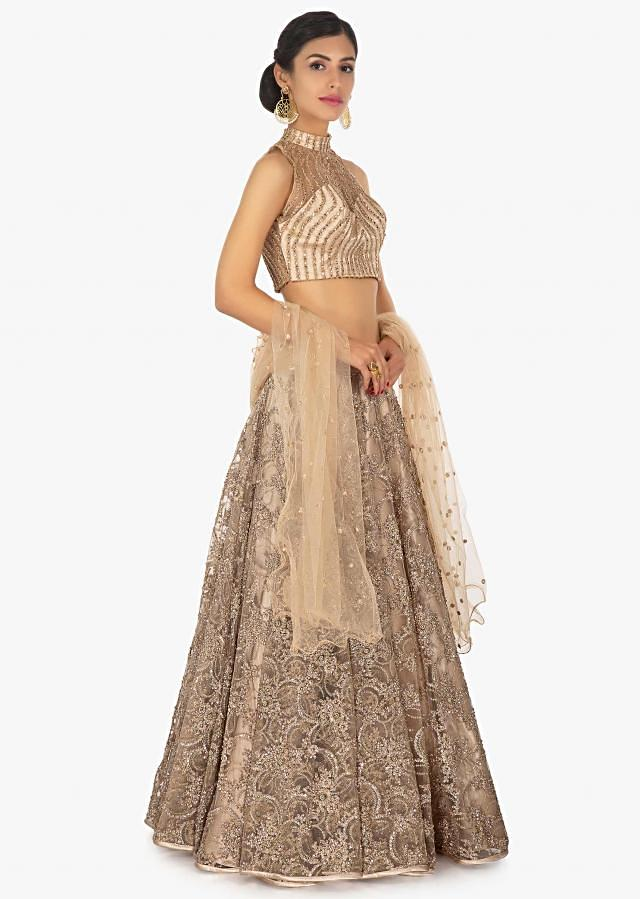 Beige Lehenga Set In Satin And Net With Sequins And Zari Embroidery Online - Kalki Fashion