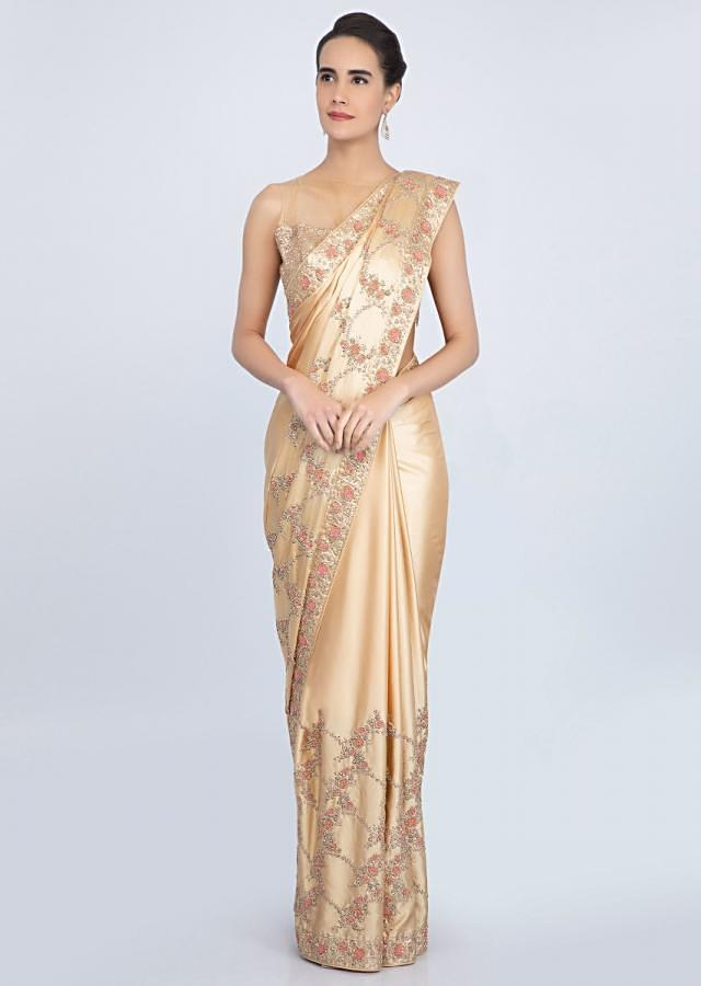Beige Saree In Satin With Embroidered Lower Bottom And Pallo Online - Kalki Fashion