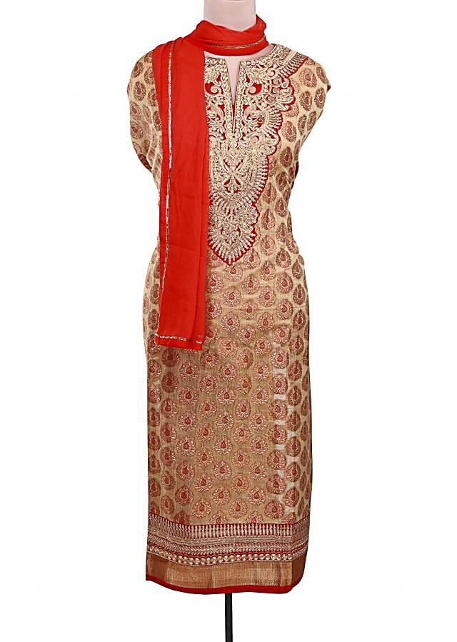 Beige semi stitched suit featuring in zari embroidery only on Kalki