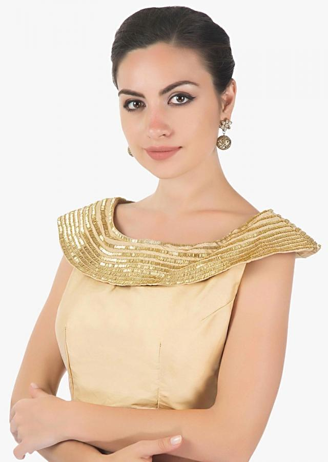 beige  silk blouse with cowl neck studed with cut danna only on kalki