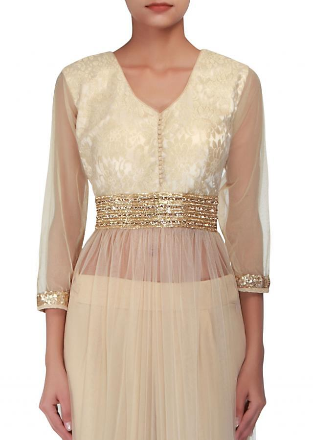 Beige straight-fit suit embellished in kardana and zari embroidery only on Kalki