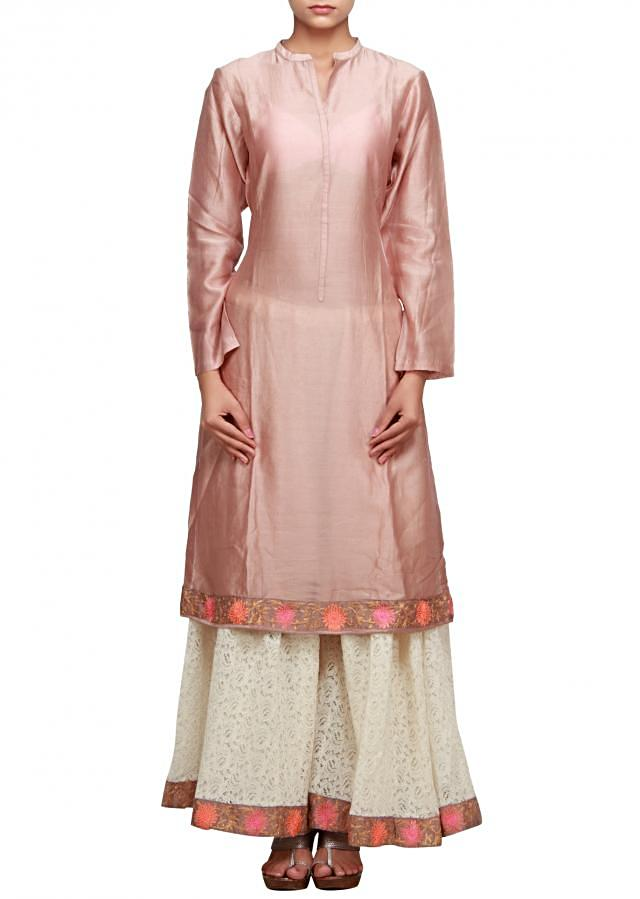 Beige straight fit suit in aari with palazzo pant only on Kalki