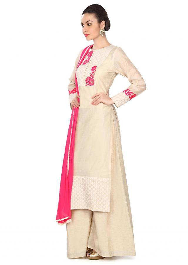 Beige straight suit with yoke in resham work only on Kalki