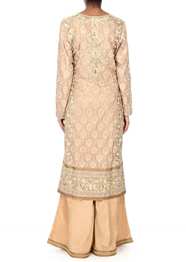 Beige straight suit in zari and resham embroidery only on Kalki
