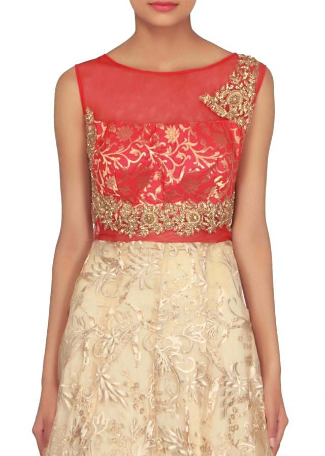 Beige suit adorn in brocade embroidered bodice only on Kalki