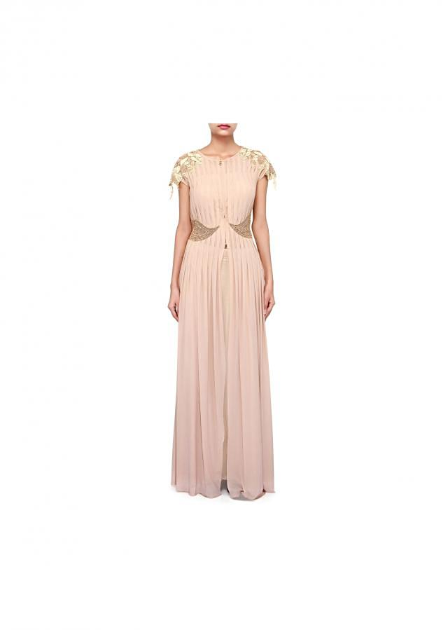 Beige suit highlighted in pleats and zardosi embroidery only on Kalki