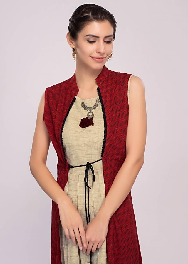 Beige Tunic Dress Paired With A Printed Red Jacket With Tie Ups Online - Kalki Fashion