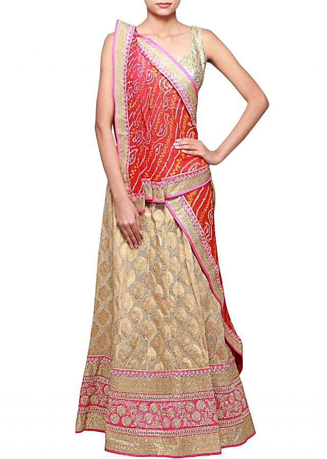 Beige unstitched silk lehenga adorn in sequin and zari embroidery only on Kalki