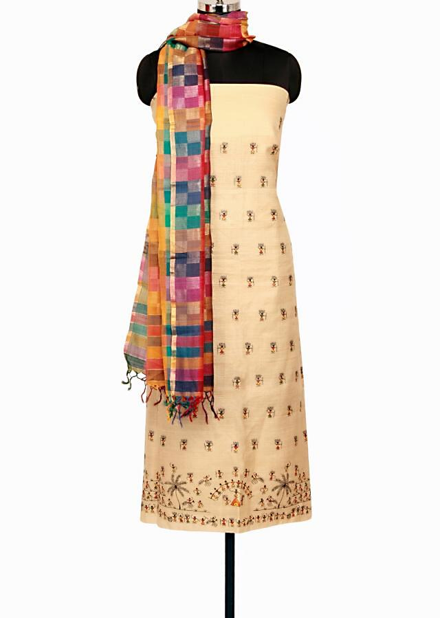 Beige unstitched silk salwar kameez in warli only on Kalki