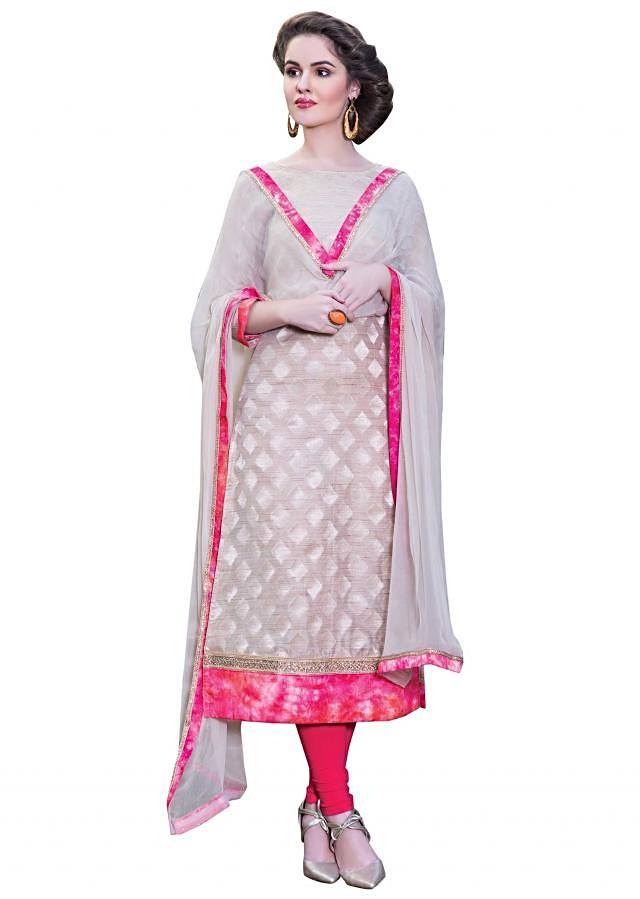 Beige unstitched suit adorn in printed hem line