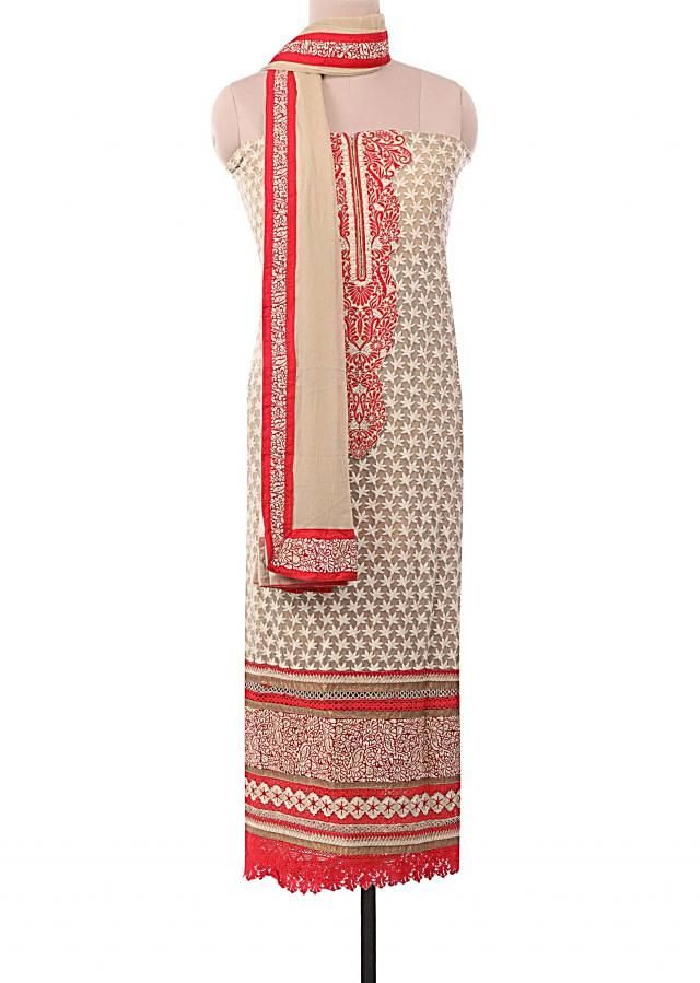 Beige unstitched suit embellished in patchwork and thread embroidery only on Kalki