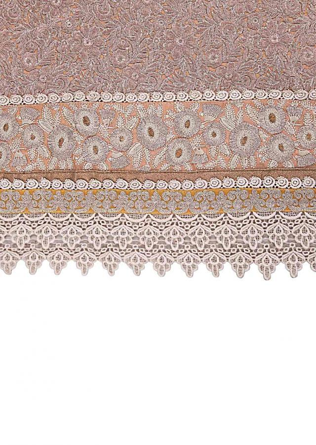 Beige unstitched suit embellished in zari and thread embroidery only on Kalki