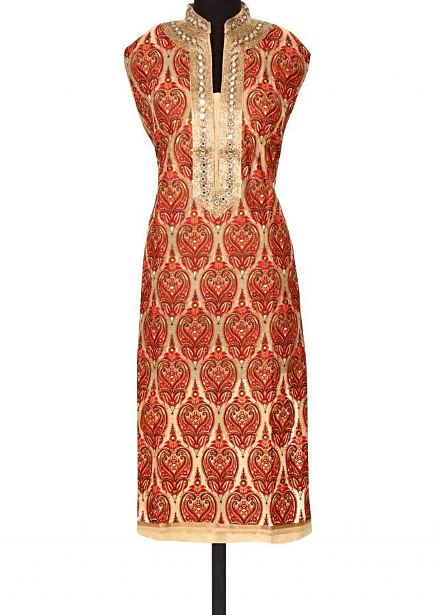 Beige unstitched suit in resham and mirror only on Kalki