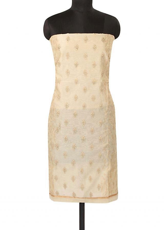 Beige unstitched suit in resham embroidery only on Kalki