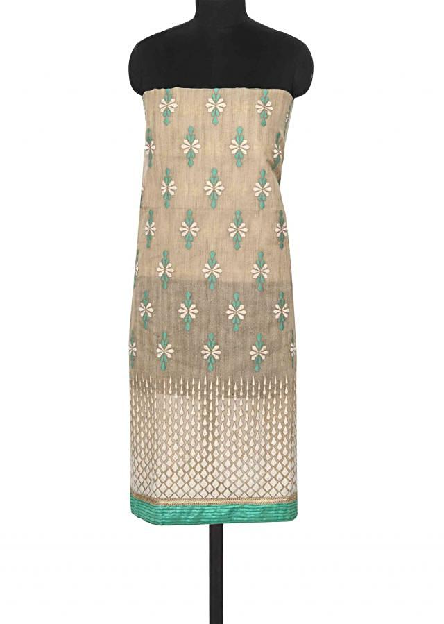 Beige unstitched suit in thread embroidery only on Kalki
