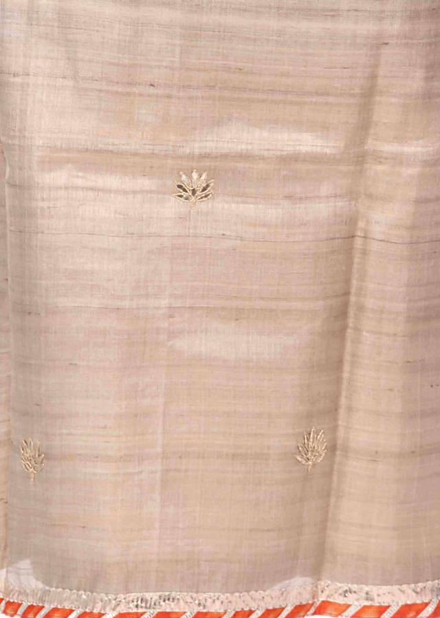 Beige unstitched suit with leheriya print only on Kalki