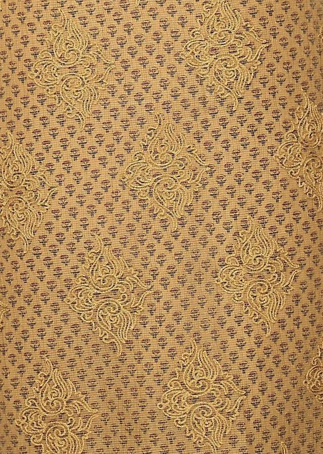 Beige unstitched suit with printed under layer only on Kalki