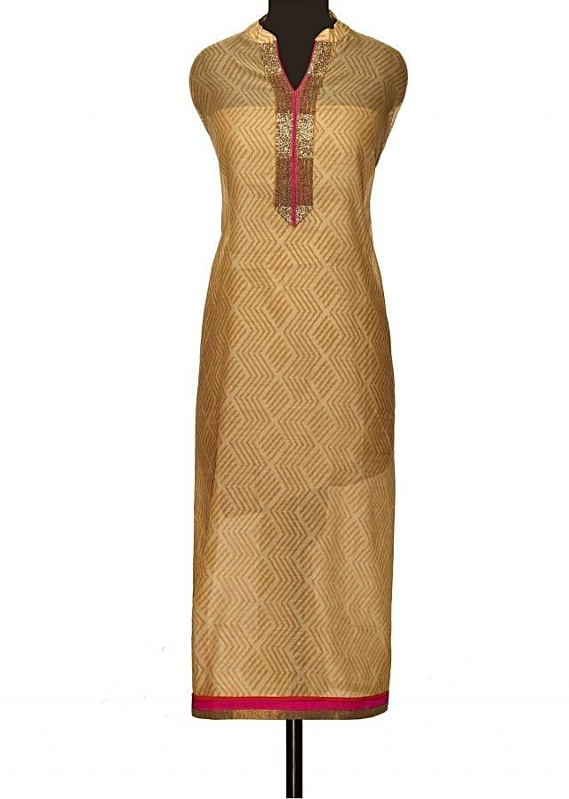 Beige unstitched suit with shaded dupattaonly on Kalki