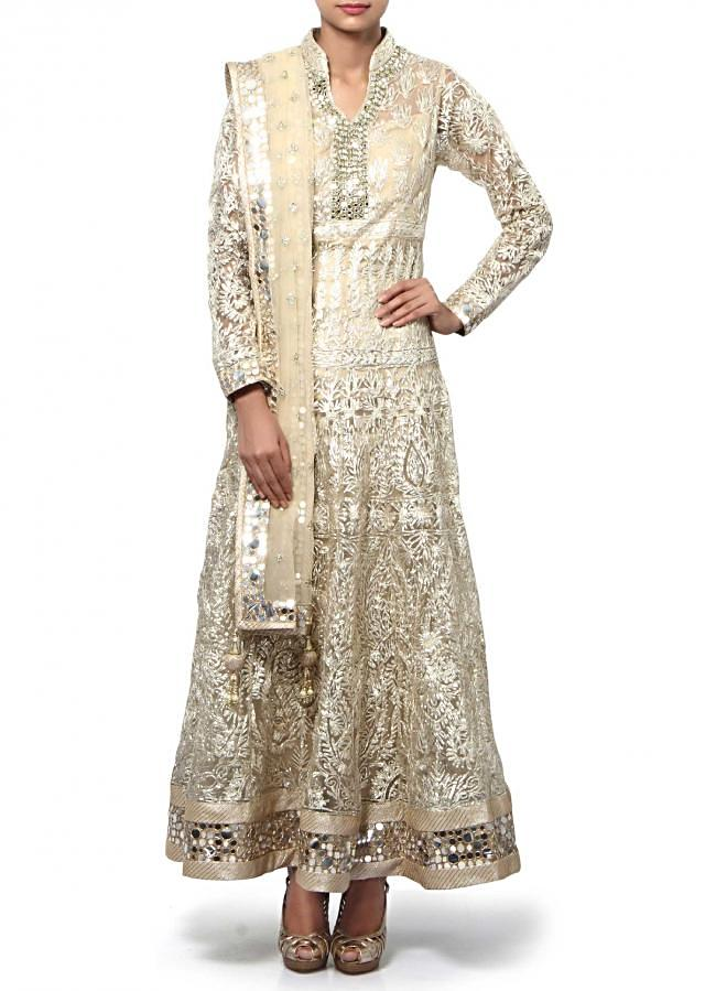 Beige anarkali suit adorn in gotta patti and mirror embroidery only on Kalki