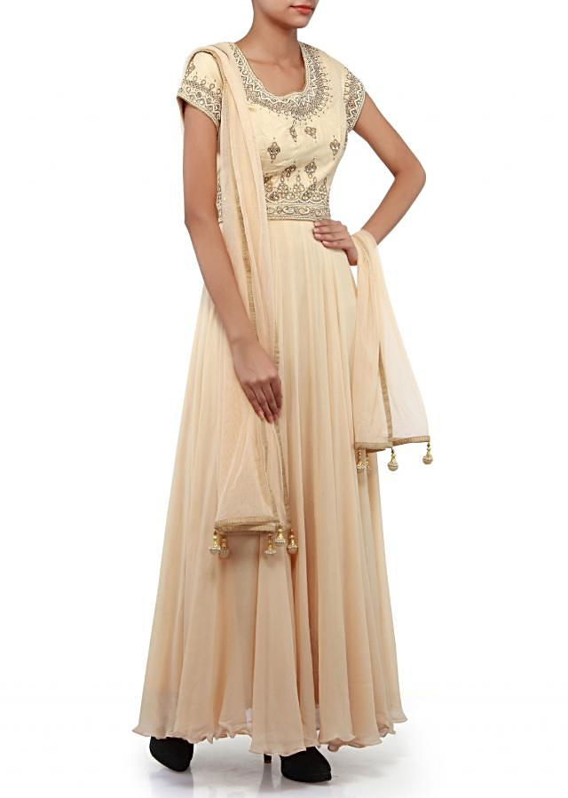 Beige anarkali suit adorn in pearl and kundan embroidery only on Kalki