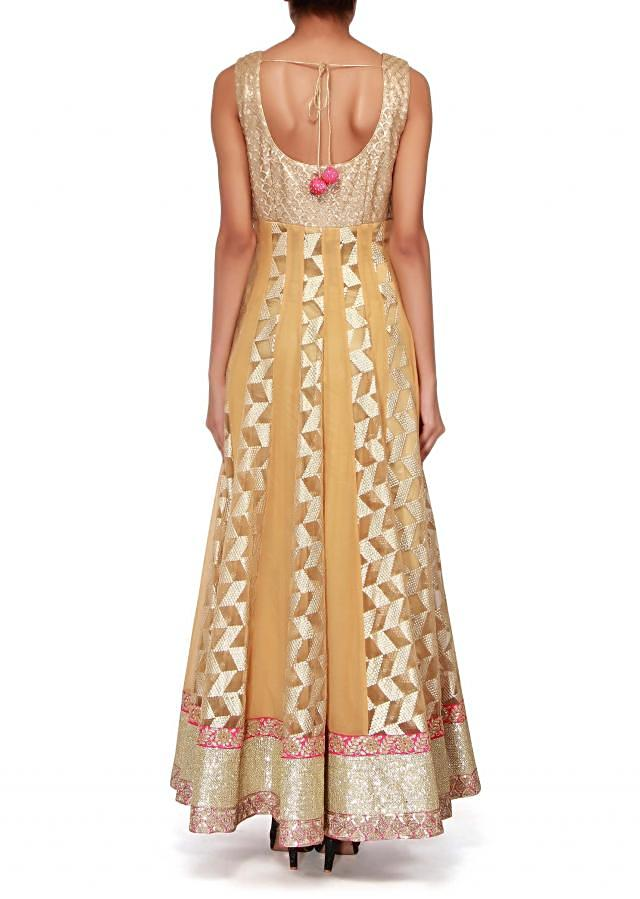 Beige anarkali suit embellished in sequin and zardosi embroidery only on Kalki
