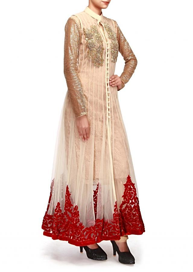 Beige anarkali suit featuring in kardana and patch work embroidery only on Kalki