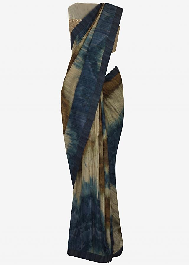 Beige and navy blue printed saree in tussar silk only on Kalki