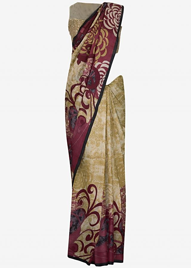 Beige and pink printed saree in silk only on Kalki