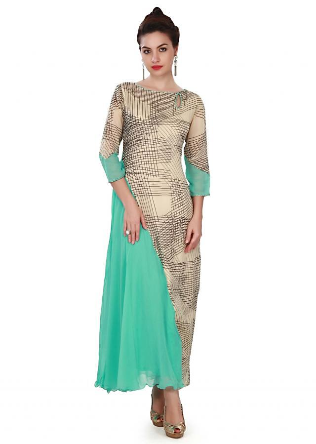 Beige and turq kurti featuring in abstract print only on Kalki